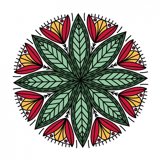 626x626 Geometric Floral Circle Vector Free Download