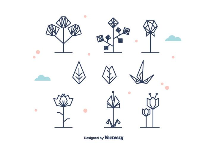 700x490 Geometrical Flowers And Leaf Vector