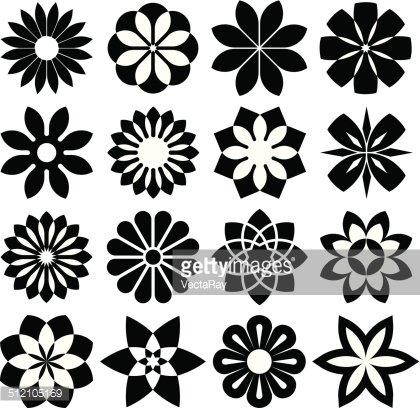 420x408 Graphic Flower Vector Clipart Collection