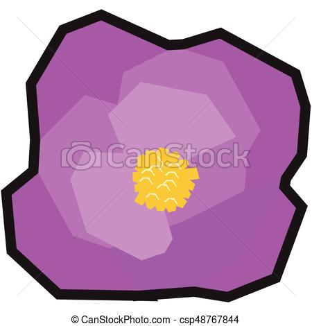 450x470 Isolated Geometric Flower On A White Background, Vector Illustration.