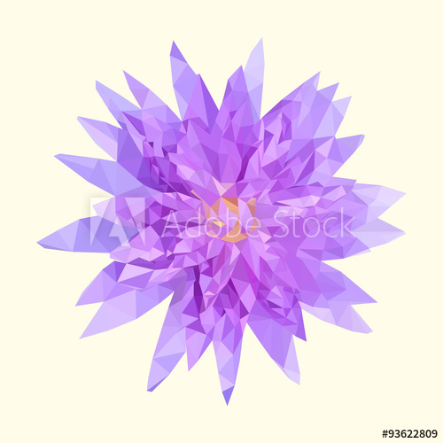 500x500 Polygonal Purple Lotus, Polygon Geometric Flower, Vector Illustr