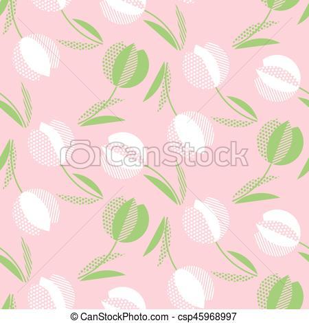 450x470 Decorative Tulip Flower Seamless Pattern. Geometric Floral Vector