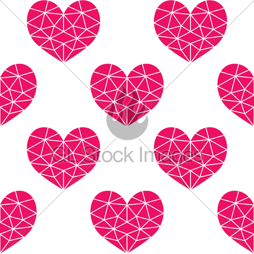 500x500 Geometric Pink Cubic Heart Vector Seamless Pattern, Valen... Gl