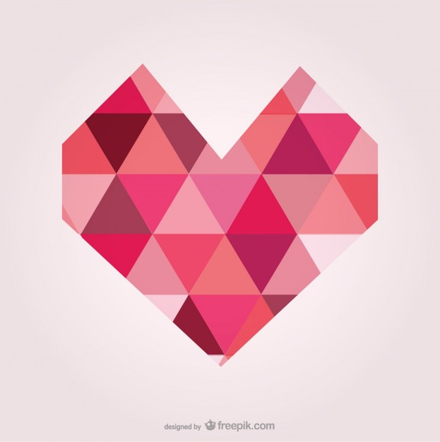 623x626 Geometric Heart Made Of Triangles Vector Free Download