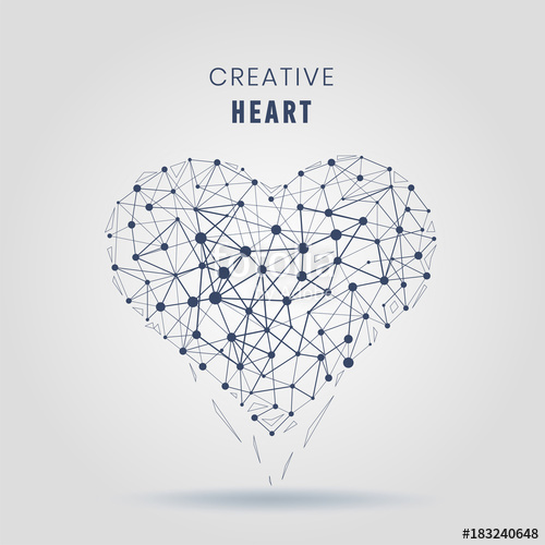 500x500 Geometric Heart Molecular Connections With Lines And Dots