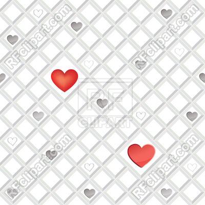 400x400 Geometric Heart Seamless Pattern. Valentine Day Ornament Vector