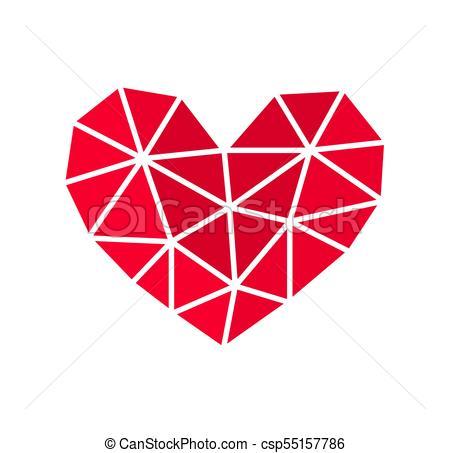 450x453 Geometric Heart Shape Icon. Vector Illustration.