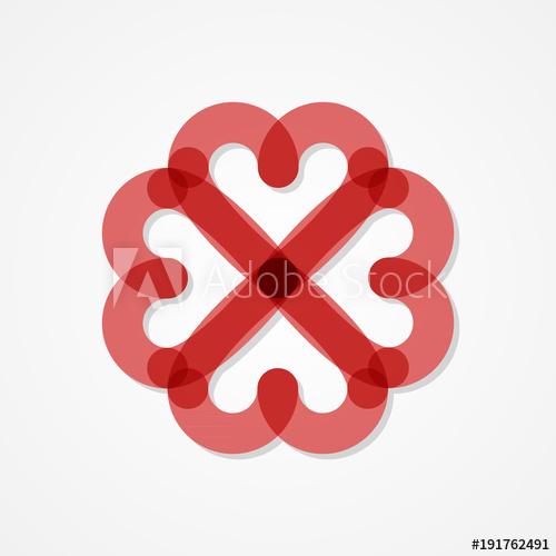 500x500 Geometric Heart Symbol. Flat Design, Vector Illustration