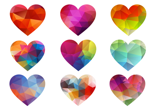 500x350 Geometric Shapes Heart Icons Vector Free Download