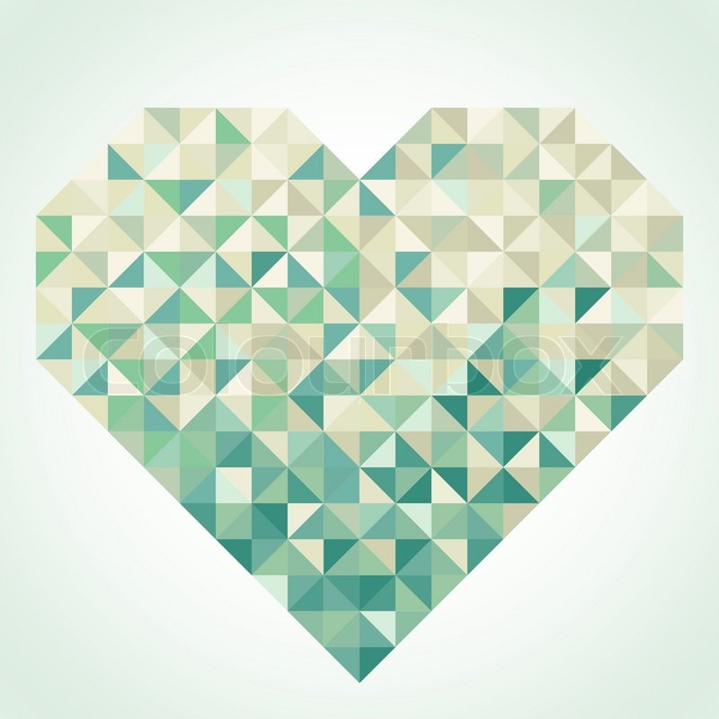 800x800 Heart On The Light Background In Geometric Style Stock Vector