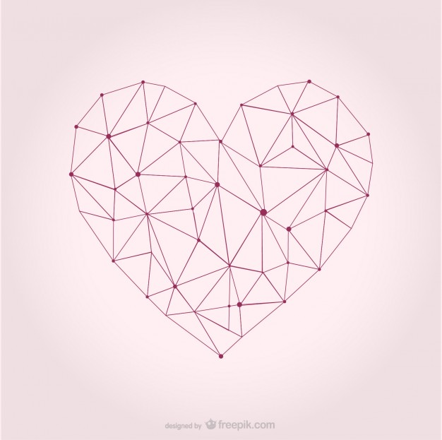 626x623 Sketchy And Polygonal Heart Vector Free Download