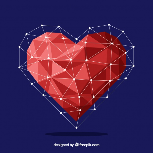 626x626 Valentine Background With Geometric Heart Vector Free Download