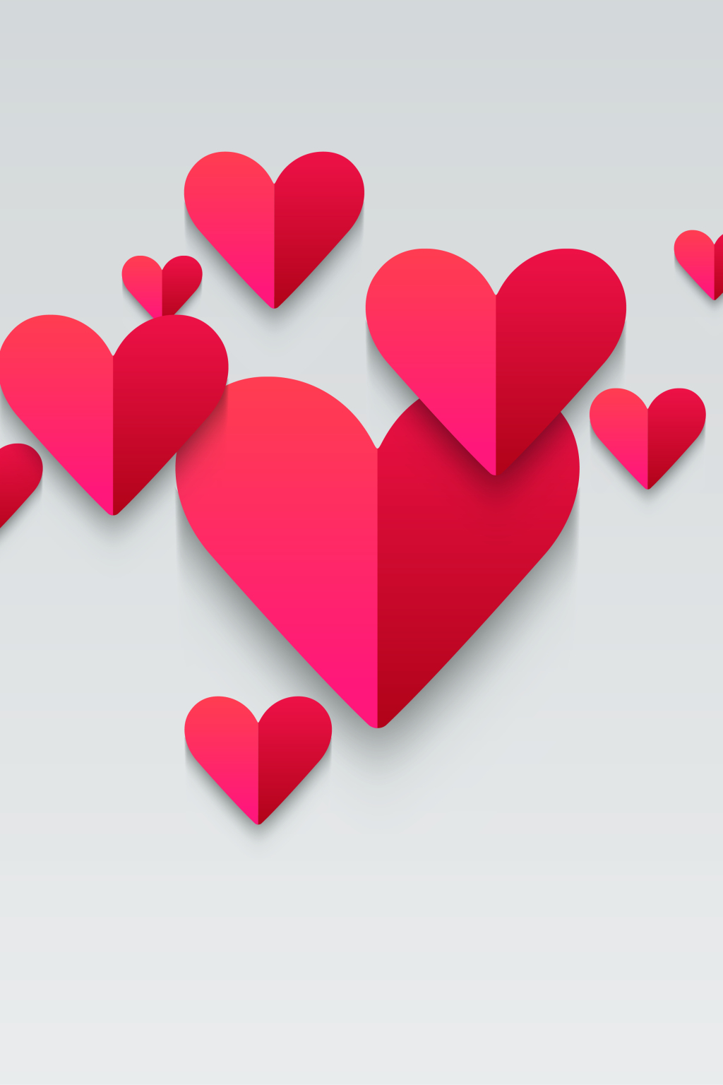 1024x1536 Vector Geometric Heart Shaped Love Flat Background Free Download