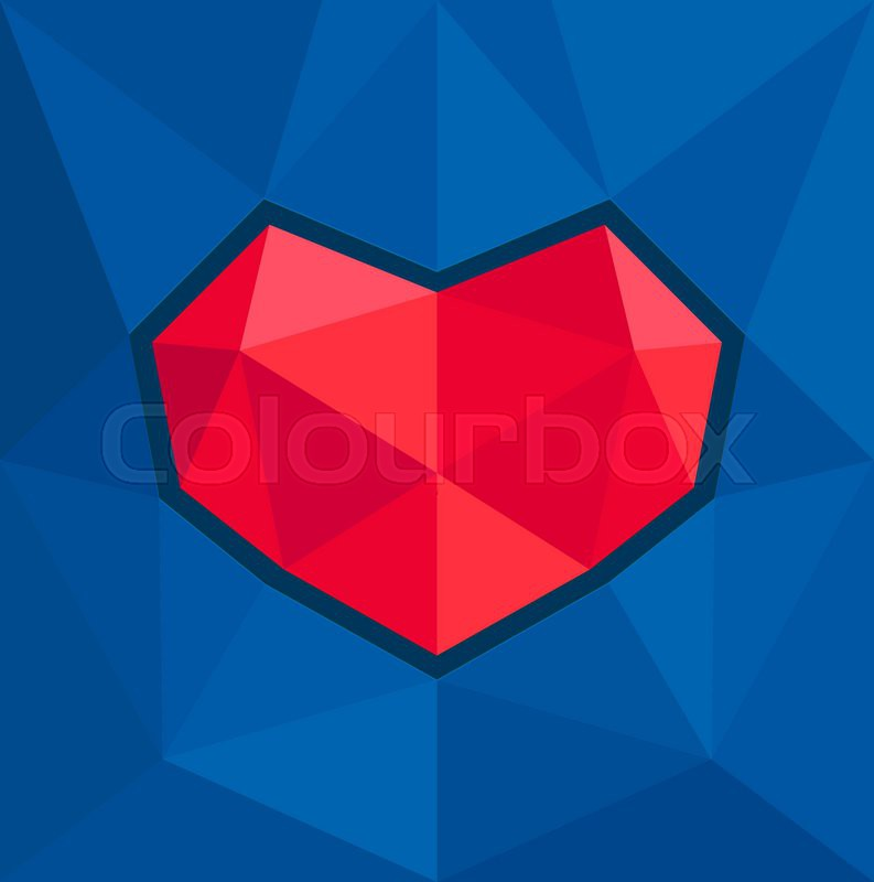 793x800 Vector Geometric Heart Red On A Blue Background Stock Vector