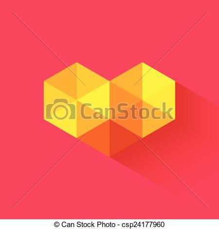 450x470 Vector Triangle Geometric Heart. Vector Triangle Geometric Mosaic