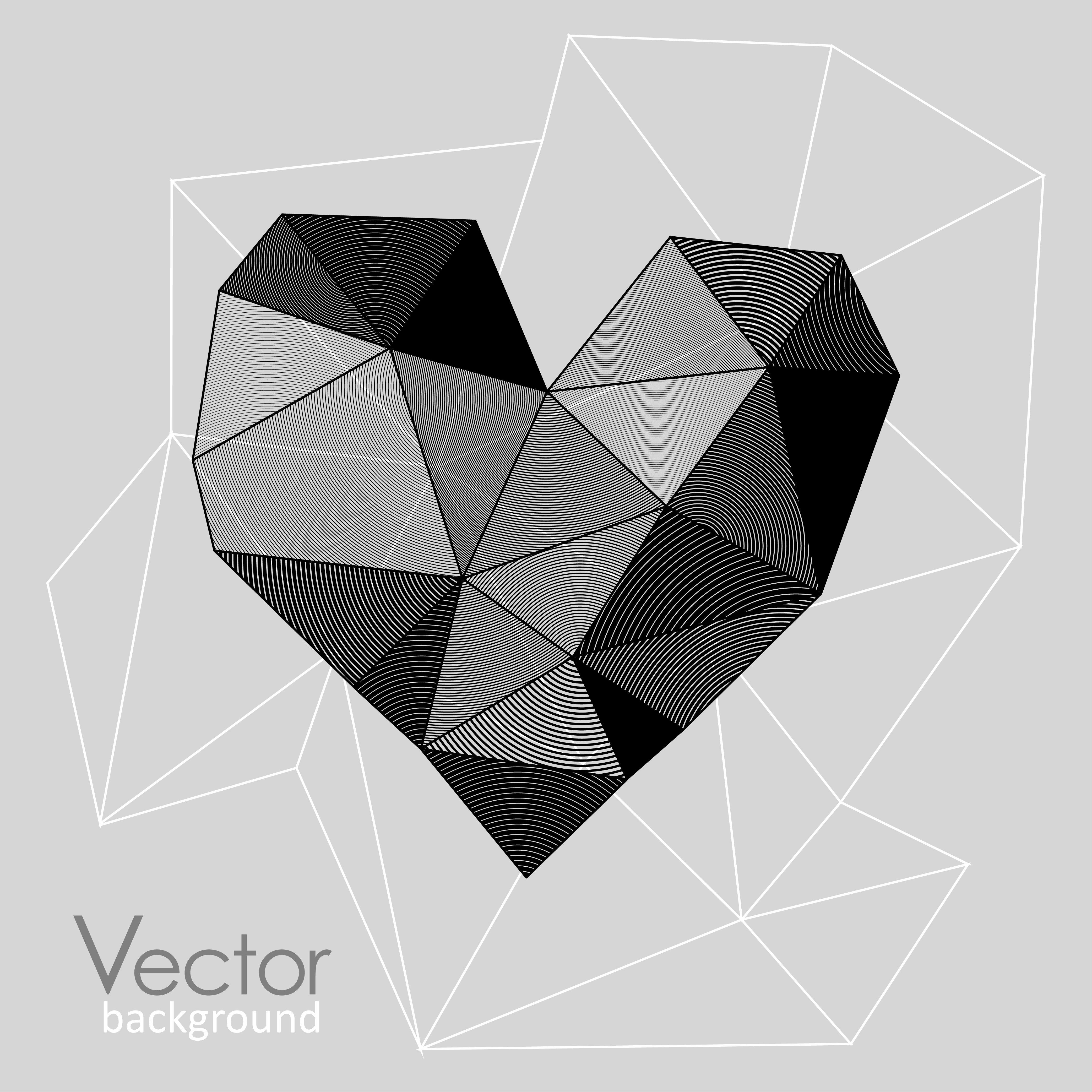 4167x4167 Geometric Heart Of Triangles Heart, Love Geometric