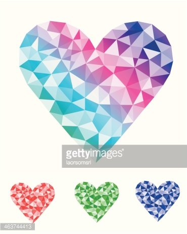 370x463 Colorful Abstract Geometric Heart Vector Stock Vectors