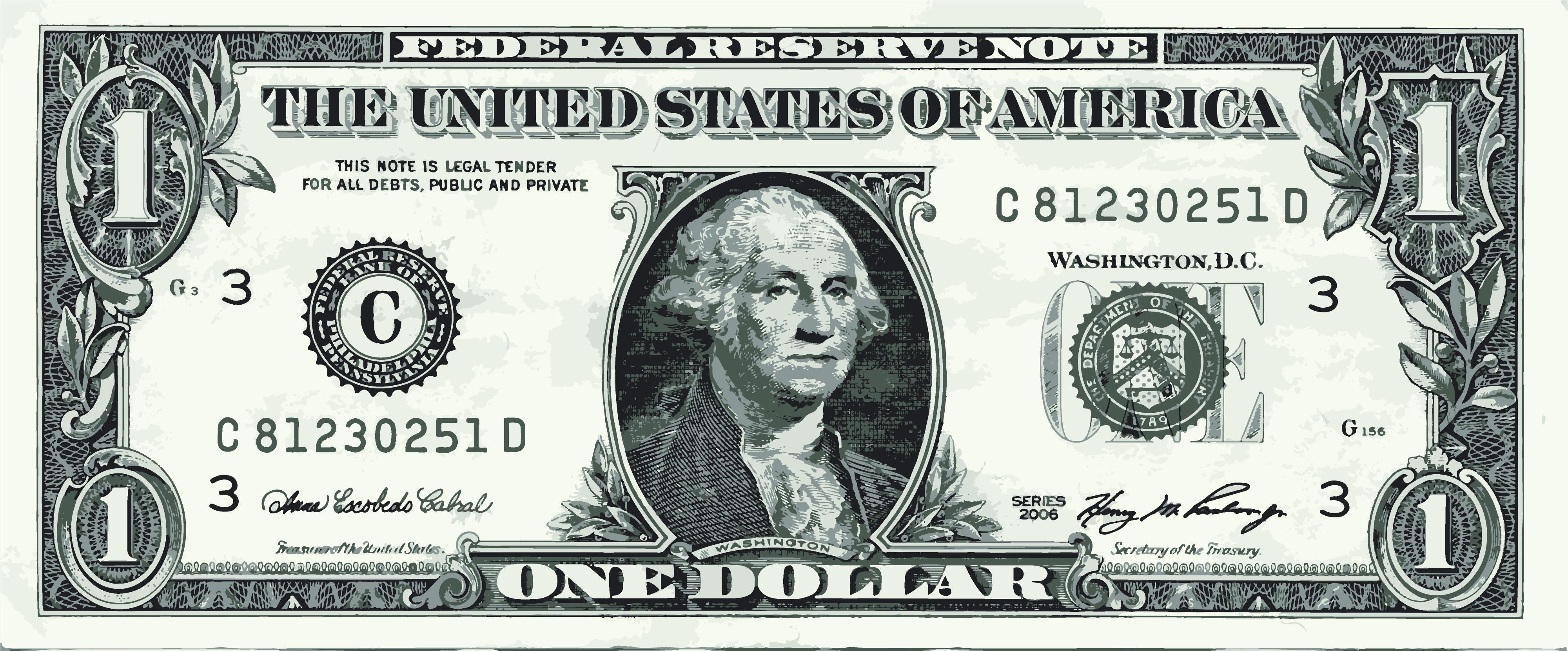 4000x1661 George Washington One Dollar Bill Vector Graphic Art Free Vector