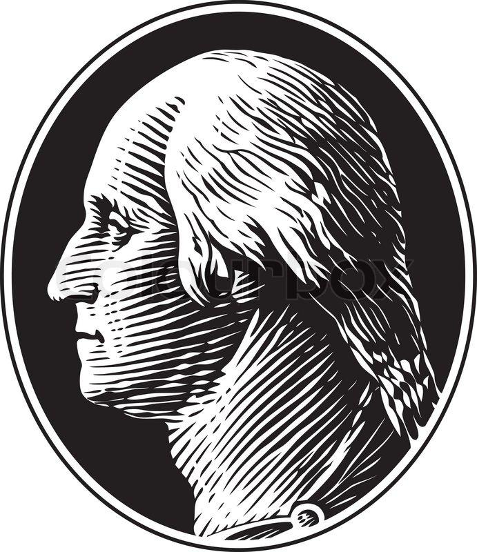 691x800 George Washington Portrait Vintage Gravure Style Stock Vector