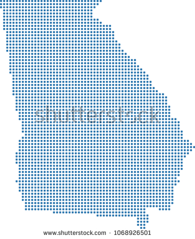 383x470 Georgia State Map Outline Georgia State Usa Map Dots Vector Stock
