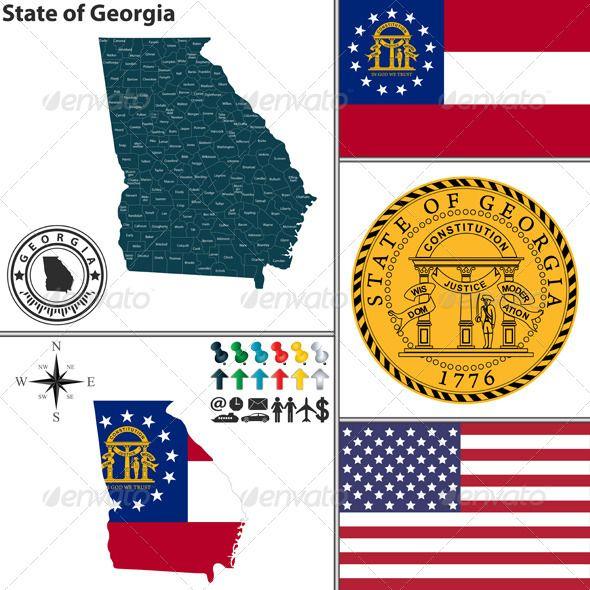 590x590 Map Of State Georgia, Usa Georgia Usa, Georgia And