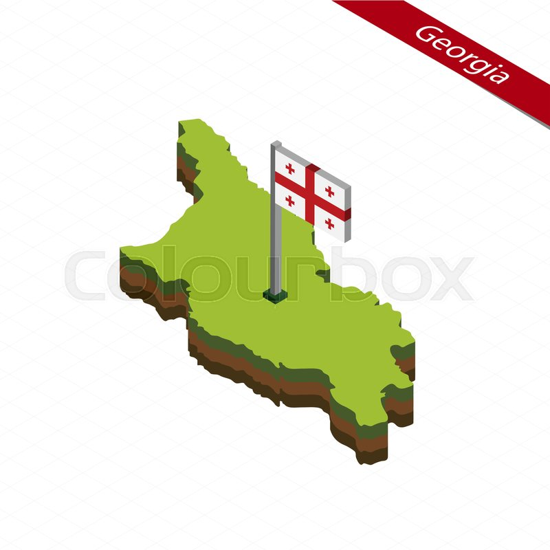 800x800 Isometric Map And Flag Of Georgia. 3d Isometric Shape Of Georgia