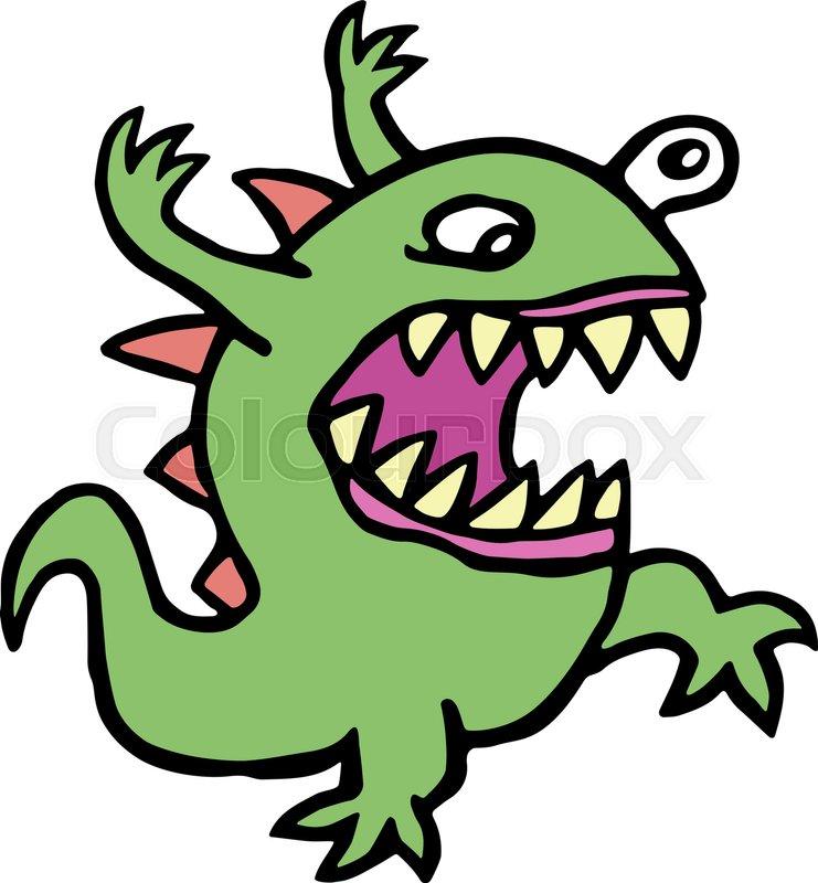 741x800 Danger Cartoon Mad Germ. Vector Illustration. Imaginary Creature