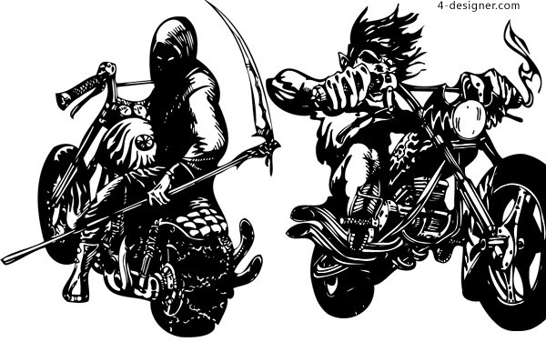 600x376 4 Designer 2 Motorcycle Ghost Rider Illustrator Vector Materials