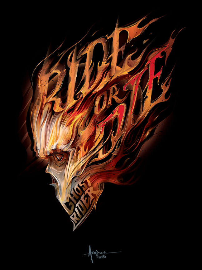 648x866 Ghostrider Rideordie Vector Art By Orlando Arocena ~mexifunk On