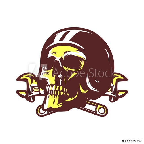 500x500 Skull Ghost Rider Road Biker Vector Logo Illustration