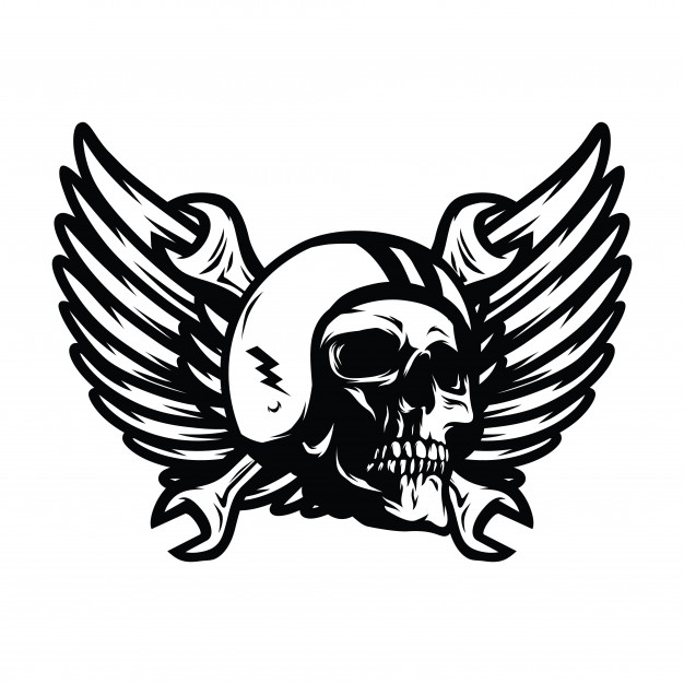 626x626 Skull Ghost Rider Road Vector Logo Design Illustration Vector