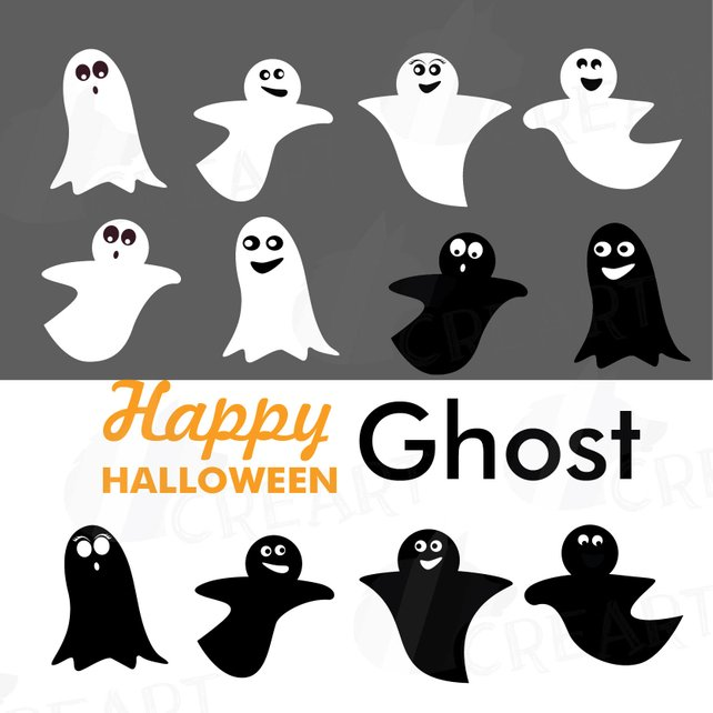 642x642 Halloween Cute Ghost Silhouettes Clipart Smiling Ghost Etsy