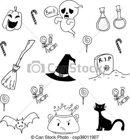 436x470 Halloween Doodle Set, Candy, Cat, Ghost. Halloween Doodle Set