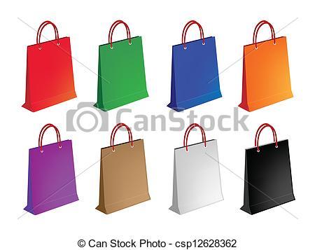450x357 Colorful Illustration Set Of Paper Shopping Bag. An Illustration