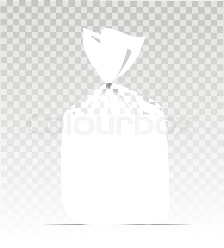 724x800 Empty Transparent Plastic Gift Bag With Gold Shiny Ribbon Stock