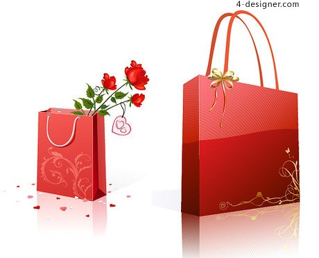 460x372 4 Designer Tanabata Romantic Red Roses With A Gift Bag Vector