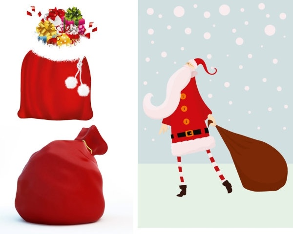 600x480 Santa Claus And Gift Bags Vector Free Vector In Encapsulated