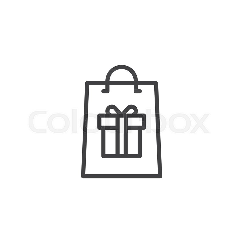 800x800 Shopping Bag With Gift Box Outline Icon. Linear Style Sign For