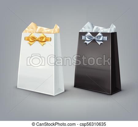 450x416 Vector Gift Bags. Vector Set Of Black And White Paper Gift Bags