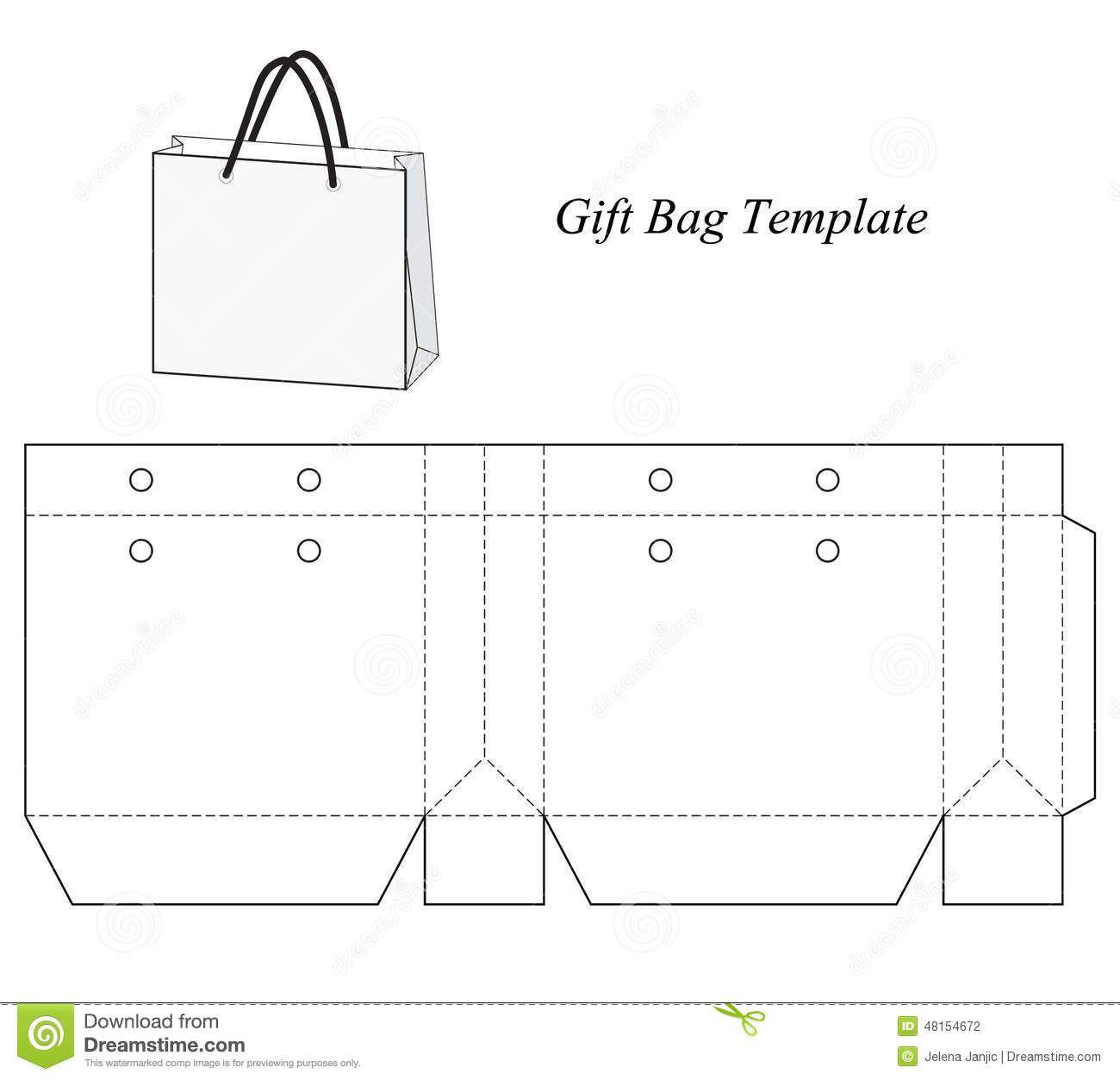 1300x1253 Blank Gift Bag Template Stock Vector