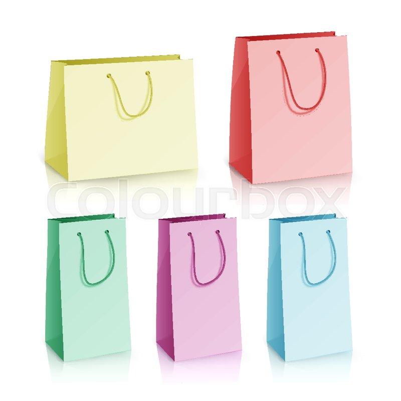 800x800 Blank Paper Bag Template Vector. Set Multicolor Paper Bag. 3d
