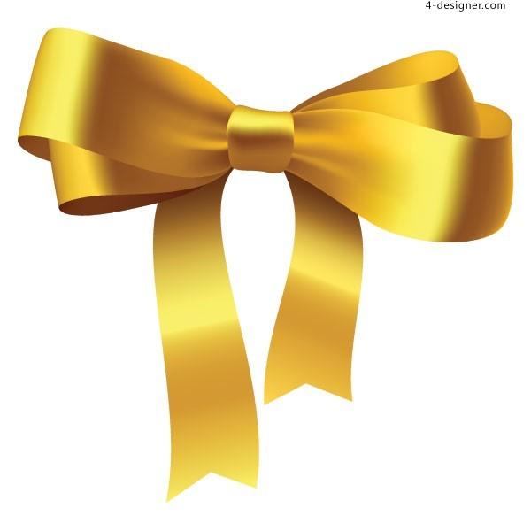 600x600 4 Designer Golden Bow Vector Material