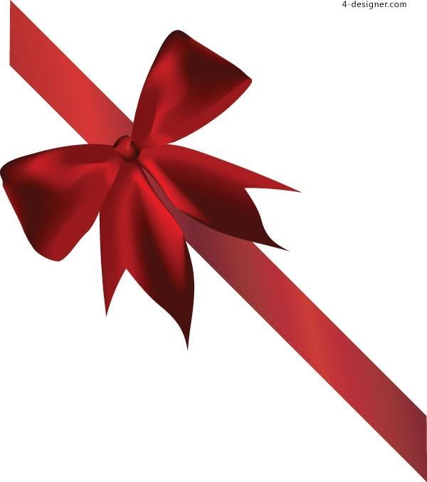 600x678 4 Designer Red Ribbon Bow Vector Material