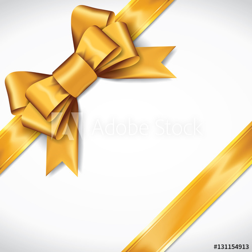 500x500 Golden Gift Bows With Ribbons On White Background. Golden Bow
