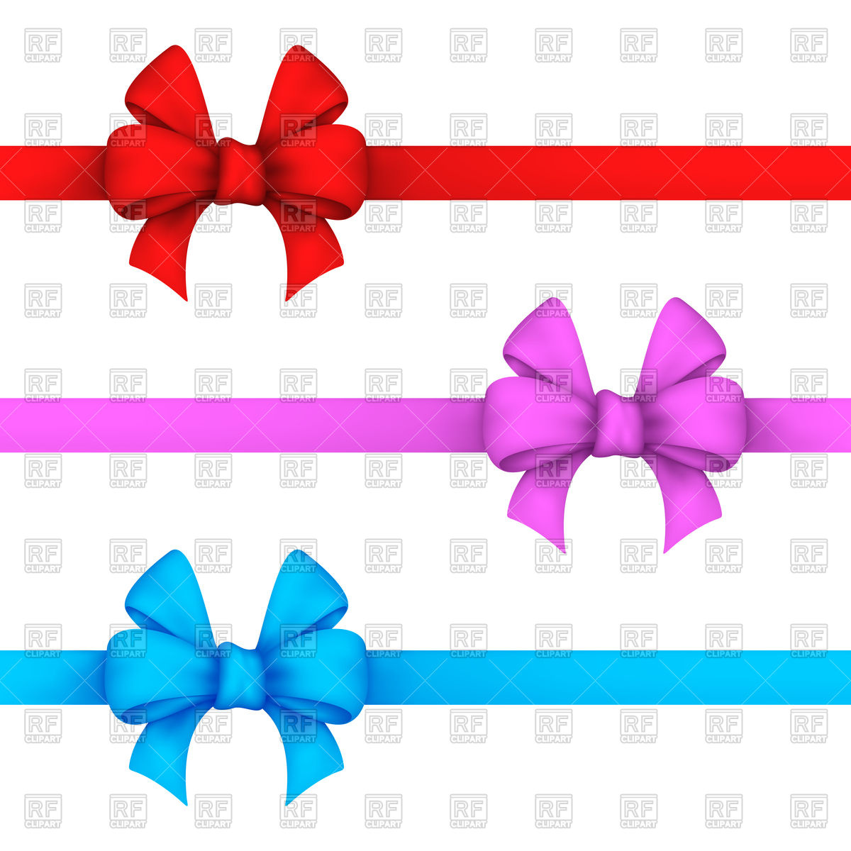 1200x1200 Red, Pink And Blue Gift Bows Vector Image Vector Artwork Of