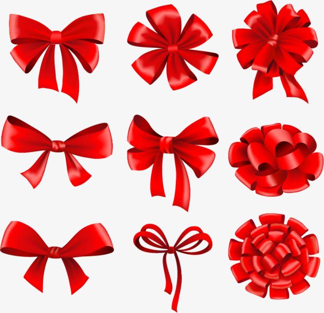 650x628 Beautiful Red Ribbon Bow Vector Material, Ribbon Vector, Bow