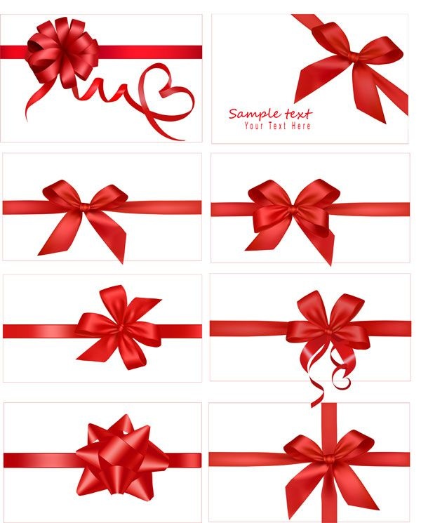 600x745 Festive Gift Bow Vector Material Ribbon Vector Download