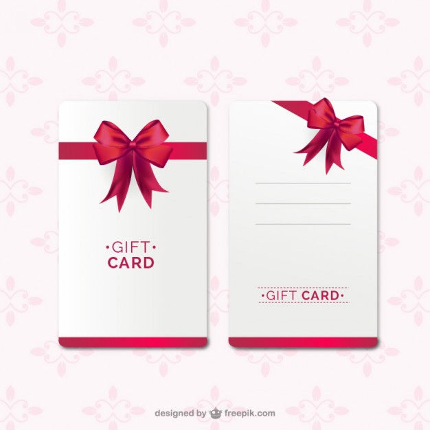 626x626 Gift Card Template With Red Ribbon Vector Free Download