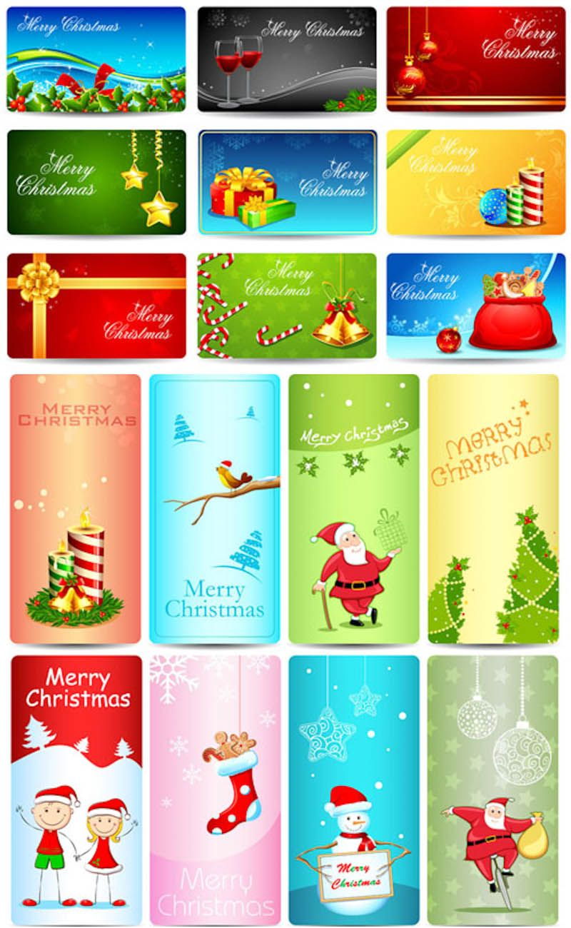 800x1300 Christmas Giftcard Templates Vector Free Vector Graphic