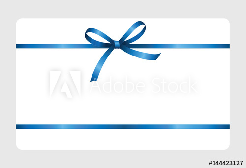 500x342 Gift Certificate, Gift Card With Blue Ribbon And A Bow On White